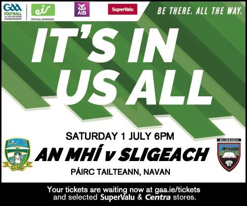 Sligo v Meath Sat 1st July 6pm