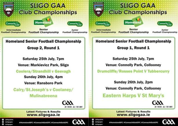 The weekends Homeland SFC fixtures